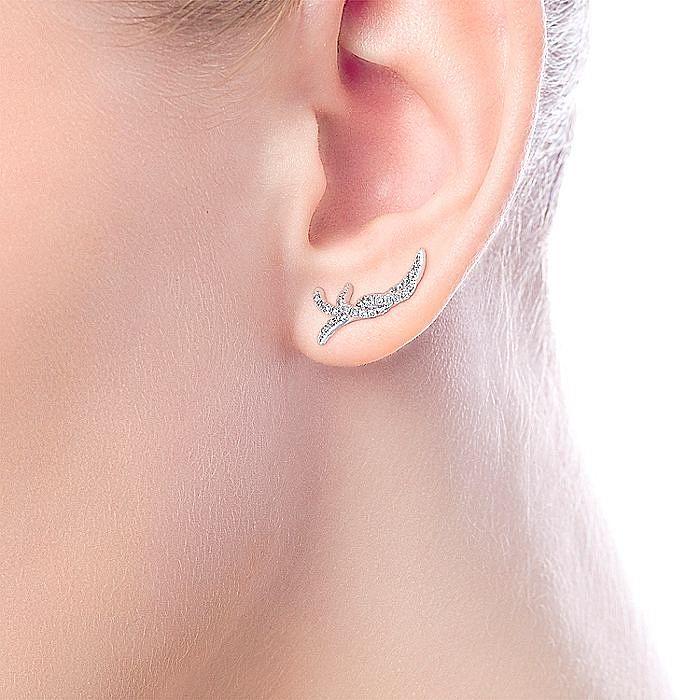 14K White Gold Twisted Strand Diamond Stud Earrings