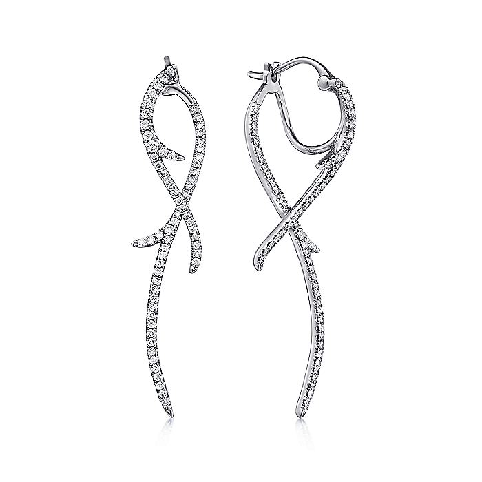 14K White Gold Twisting Diamond Front Back Drop Earrings