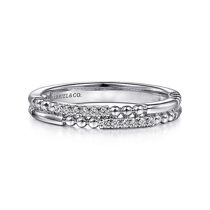 14K White Gold Two Row Beaded Diamond Stackable Ring