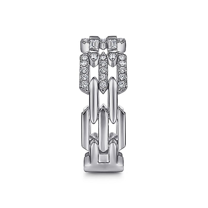 14K White Gold Two Row Diamond Link Ring