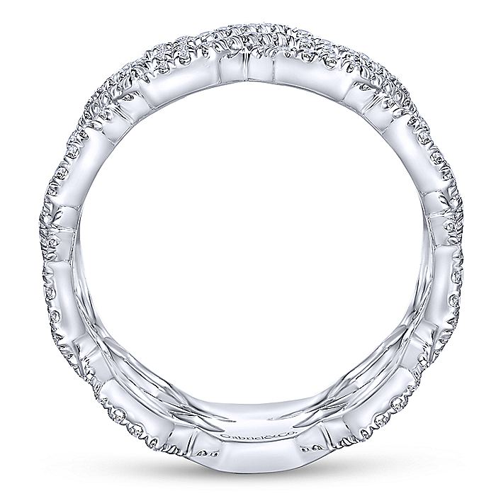 14K White Gold Two Row Open Diamond Links Ring