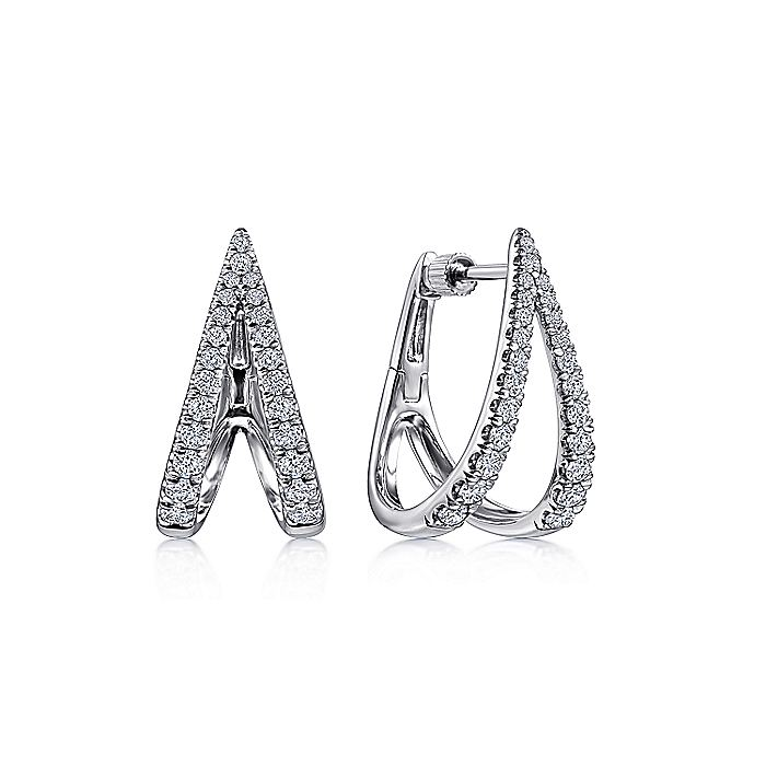 14K White Gold V Shape Diamond Huggie Earrings
