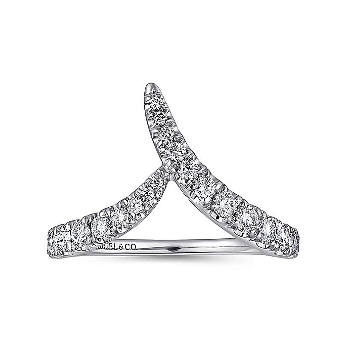 14K White Gold V Shaped Diamond Ring