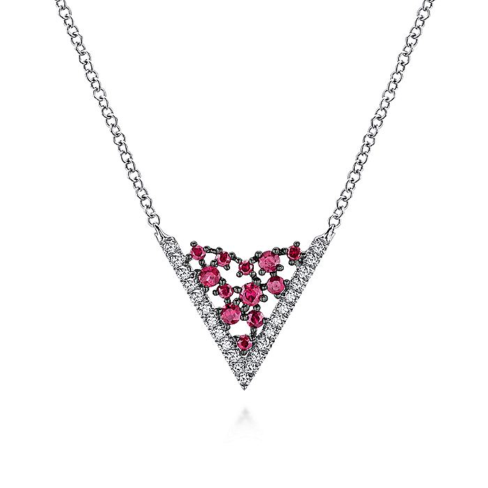 14K White Gold V Shaped Diamond and Ruby Constellation Necklace