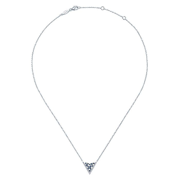 14K White Gold V Shaped Diamond and Sapphire Constellation Necklace