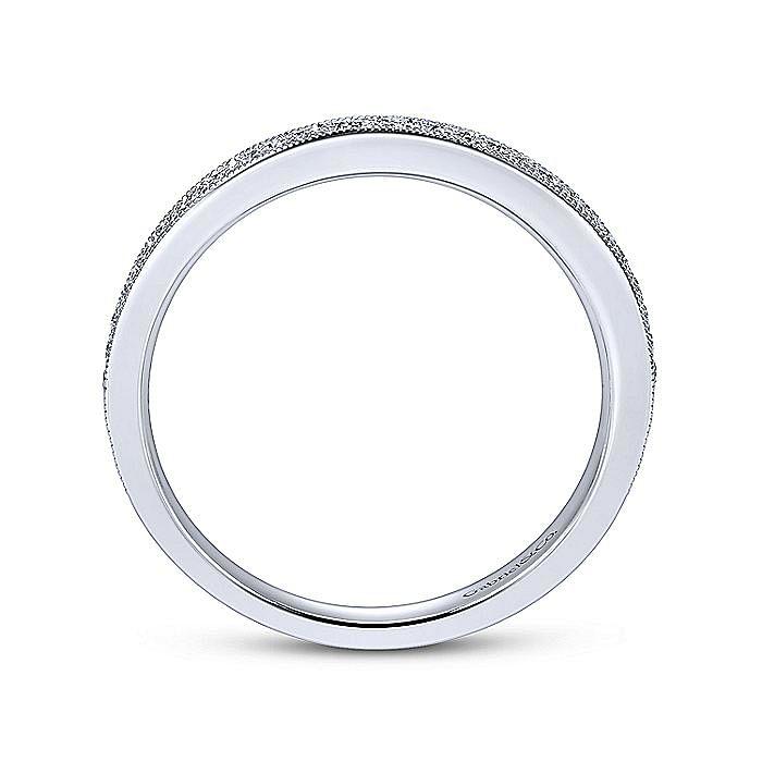 14K White Gold Victorian Micro Pavé  Straight Diamond Band