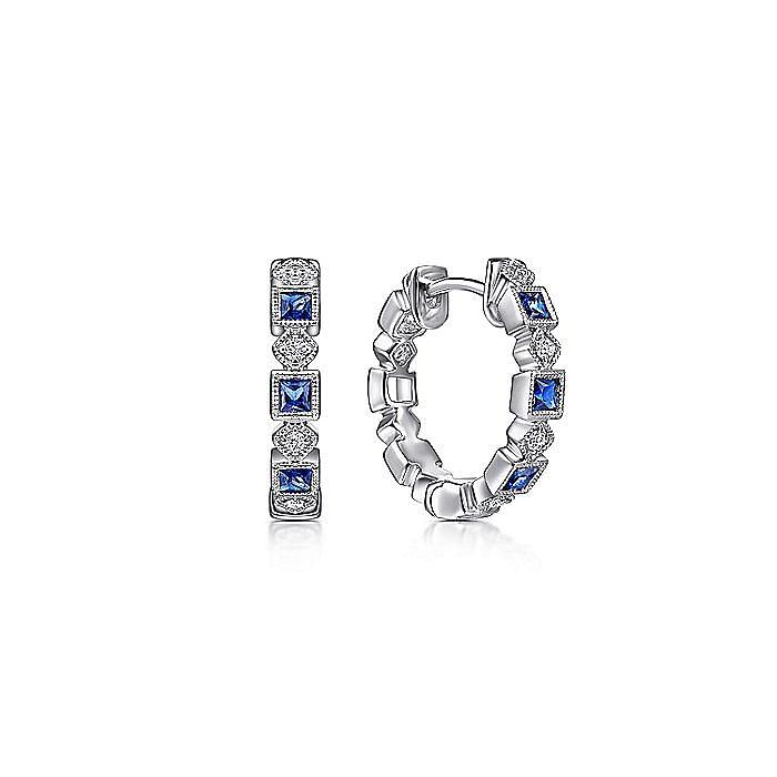 14K White Gold Vintage Inspired 15mm Sapphire and Diamond Huggie Earrings