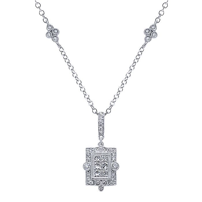 14K White Gold Vintage Inspired Diamond Pendant Necklace