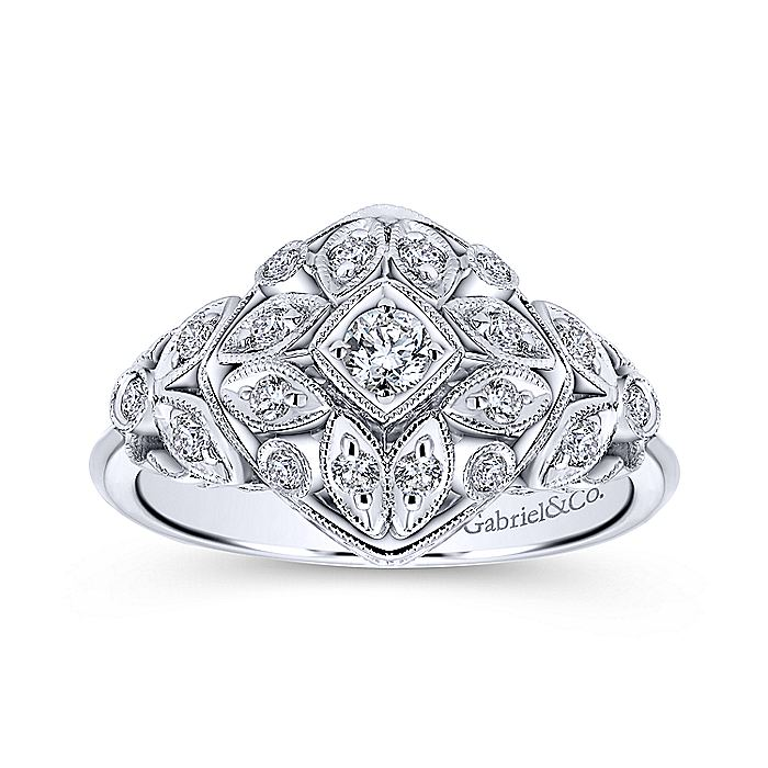 14K White Gold Vintage Inspired Diamond Ring