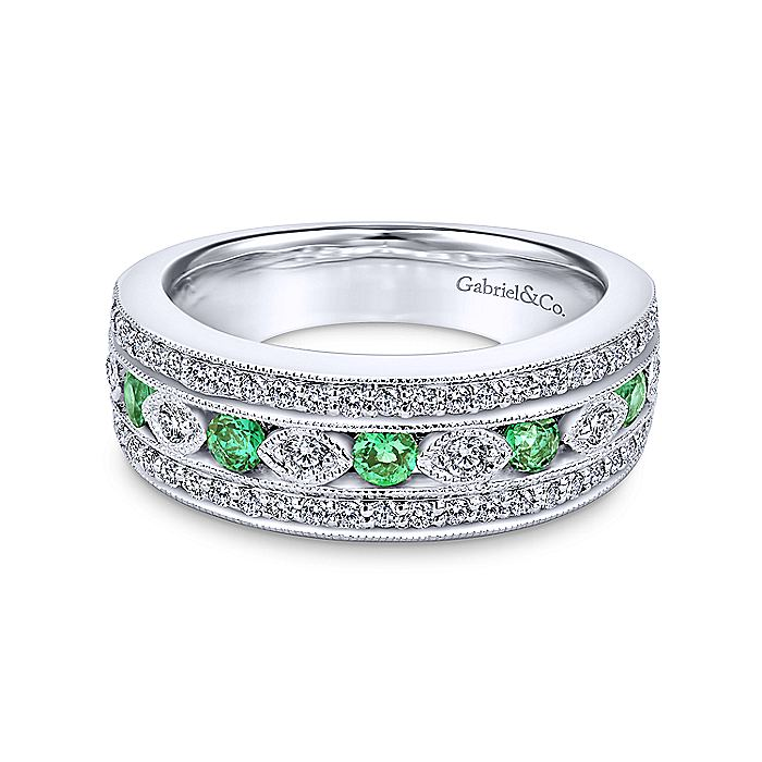 14K White Gold Vintage Inspired Emerald and Diamond Ring