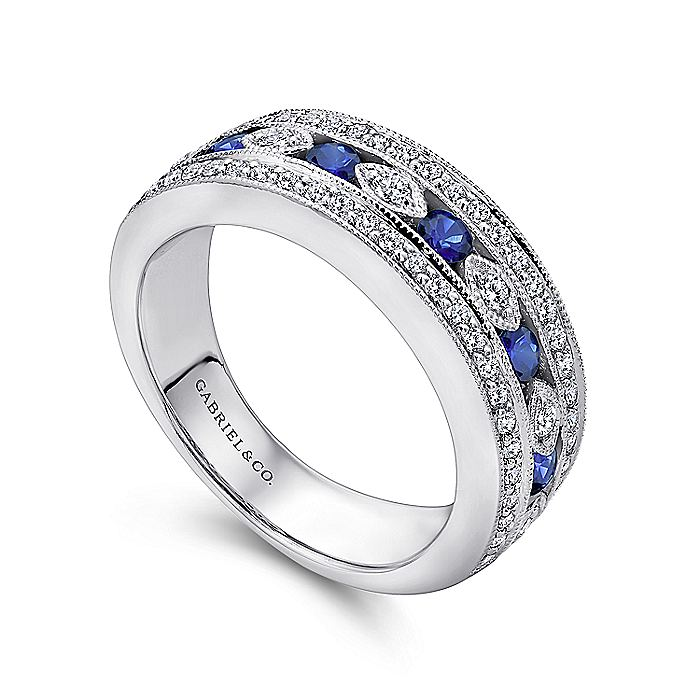 14K White Gold Vintage Inspired Sapphire and Diamond Ring