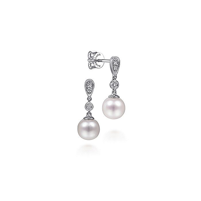 14K White Gold Vintage Inspired Style Diamond Pearl Drop Earrings
