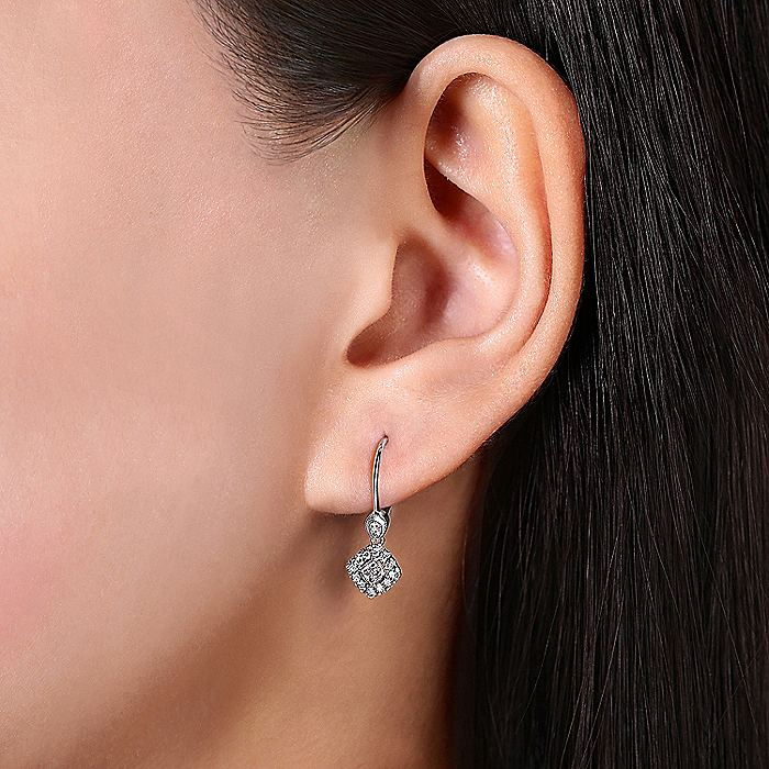 14K White Gold Vintage Inspired Style Square Diamond Drop Earrings