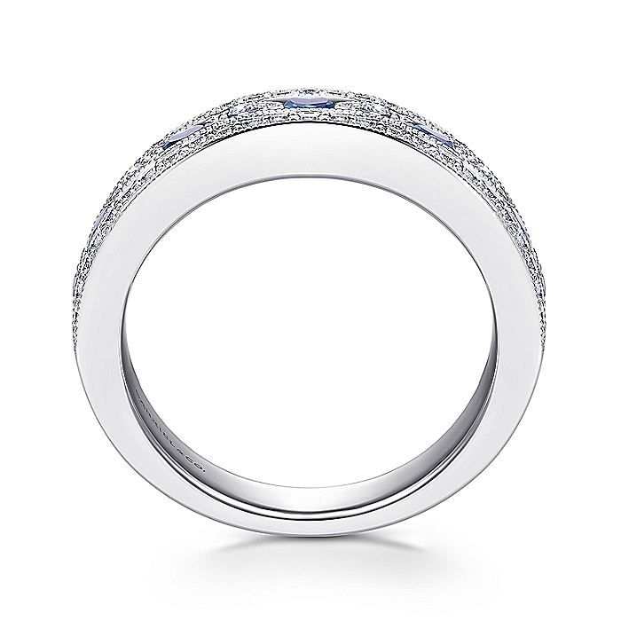 14K White Gold Vintage Inspired Wide Band Sapphire and Diamond Ring