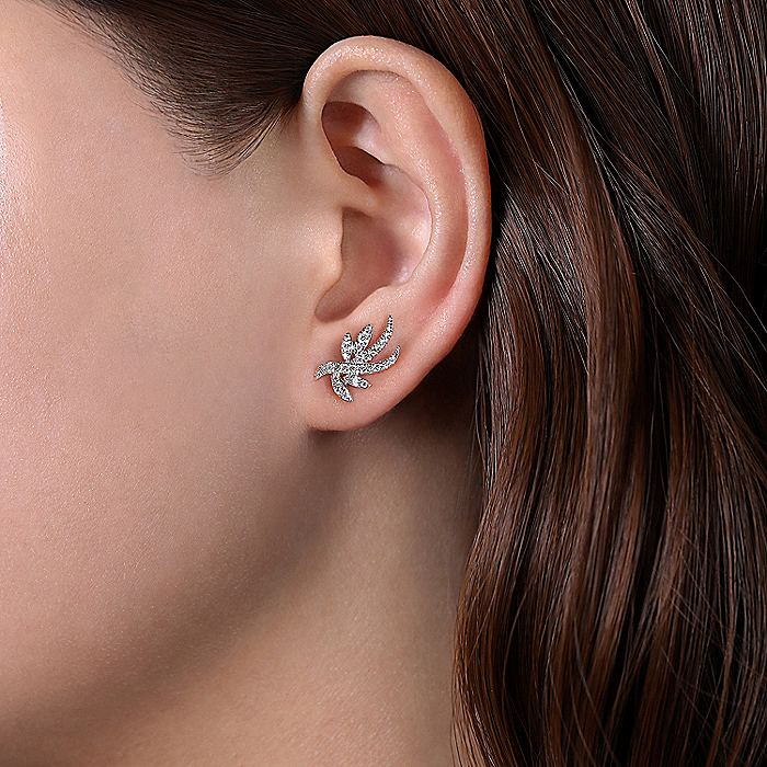 14K White Gold Whimsical Diamond Leaf Stud Earrings