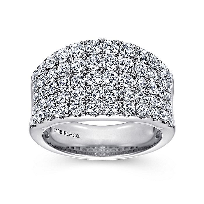 14K White Gold Wide Band Curved Diamond Ring