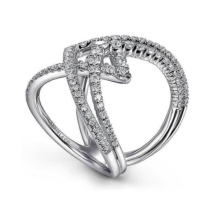 14K White Gold Wide Band Layered Diamond Ring
