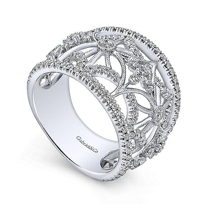 14K White Gold Wide Band Openwork Diamond Ring