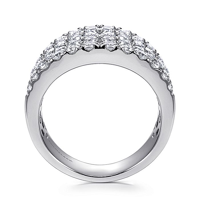 14K White Gold Wide Band Pavé Diamond Ring