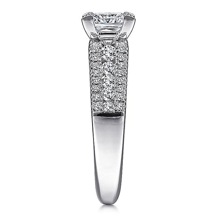 14K White Gold Wide Band Princess Cut Diamond Engagement Ring