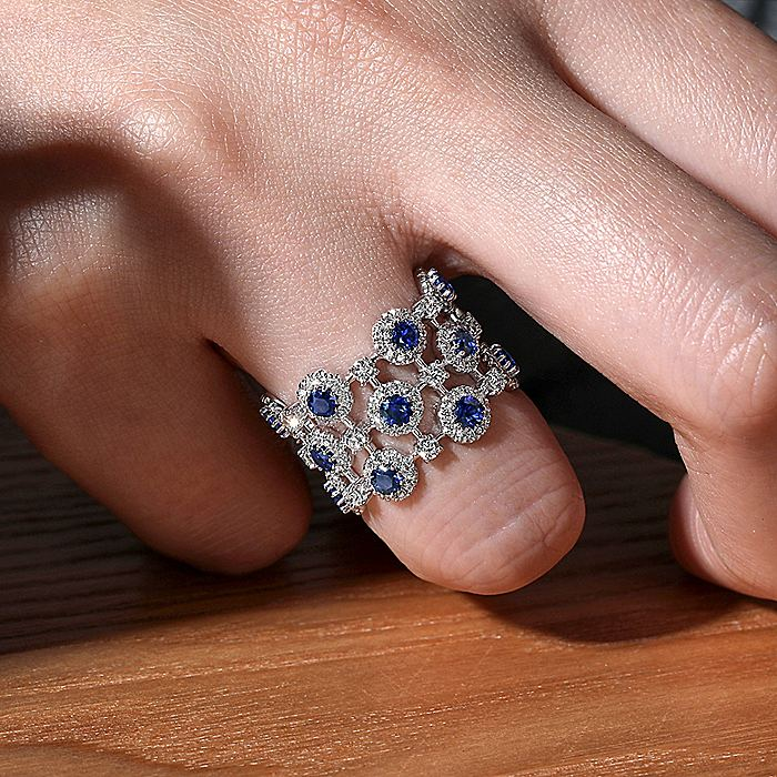 14K White Gold Wide Band Sapphire and Diamond Halo Ring