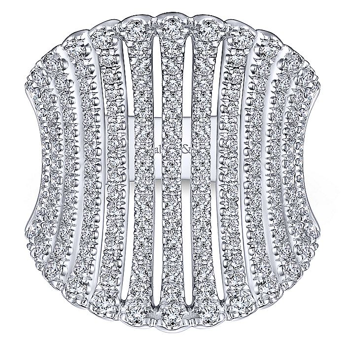 14K White Gold Wide Diamond Cage Statement Ring
