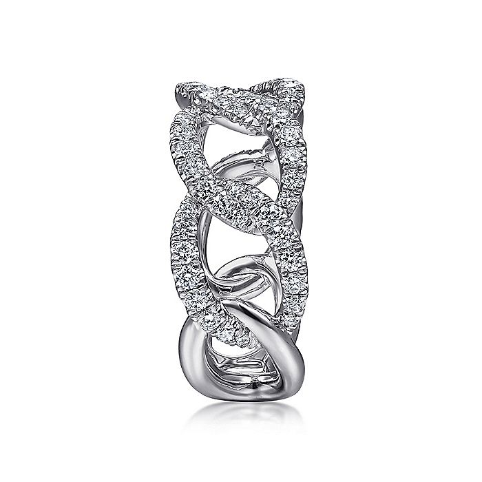 14K White Gold Wide Diamond Open Link Ring