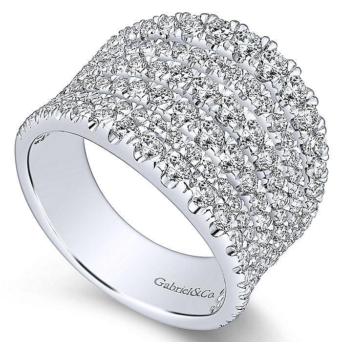 14K White Gold Wide Multi Row Diamond Ring