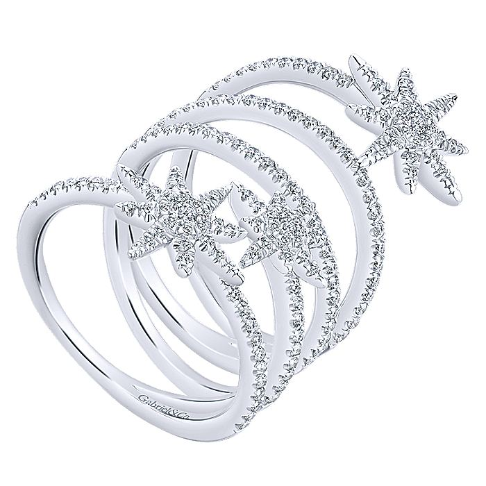 14K White Gold Wide Open Diamond Band and Star Station Statement Ring
