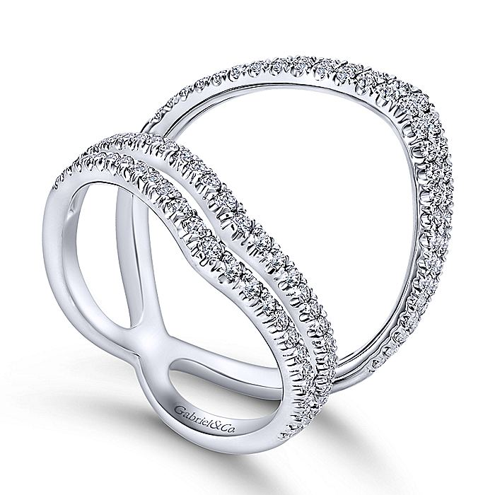 14K White Gold Wide Open Diamond Ring