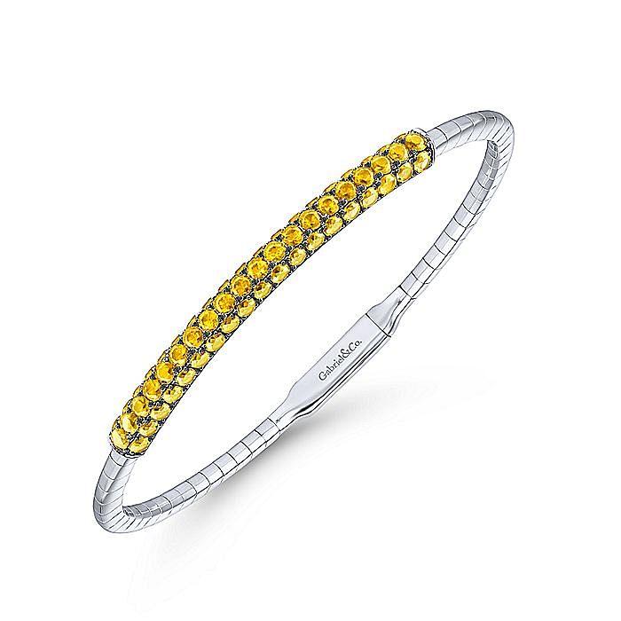 14K White Gold Yellow Sapphire Bangle