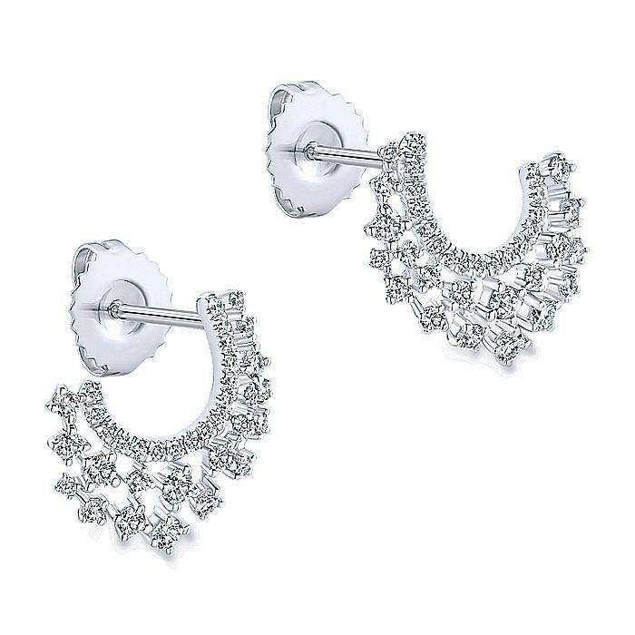 14K White Gold and C Shape Diamond Drop Earrings