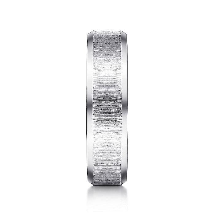 14K White Gold sandblast Beveled Edge Men's Wedding Ring