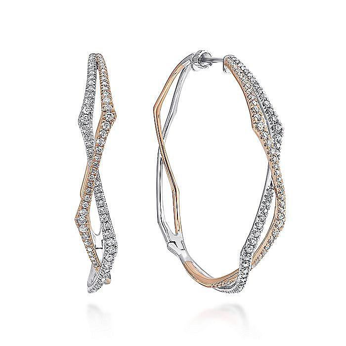 14K White-Rose Gold 40mm Round Twisted Diamond Hoop Earrings