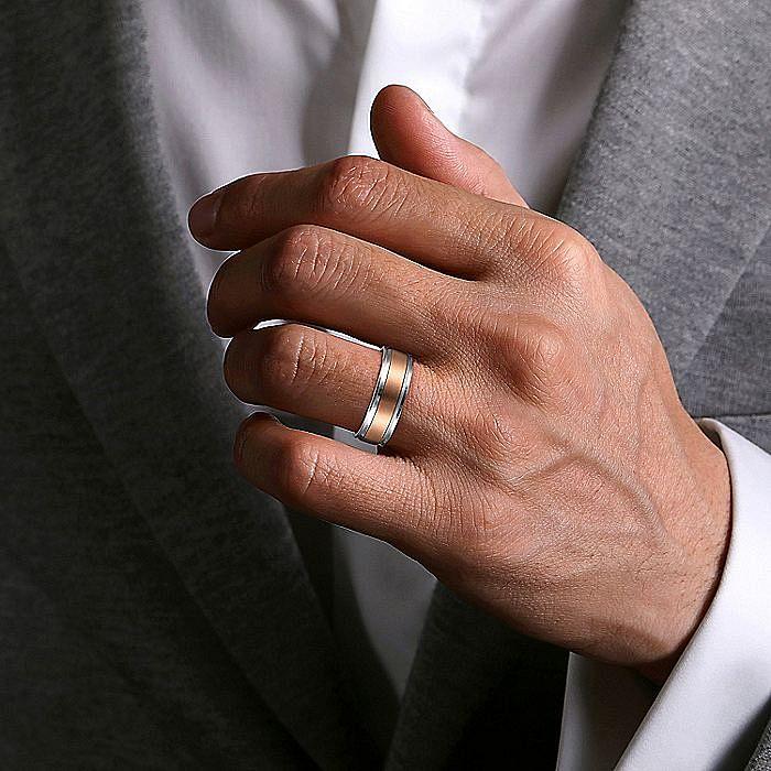 14K White-Rose Gold 7mm - Satin Center Men's Wedding Band