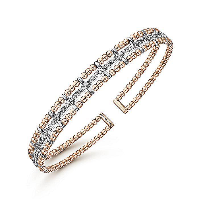 14K White-Rose Gold Bujukan Bead Cuff Bangle with Inner Diamond Channel