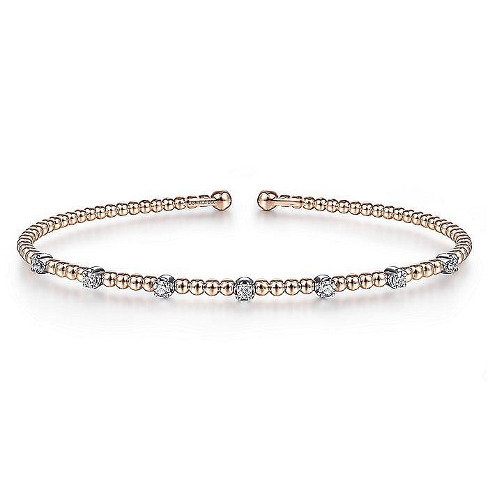 14K White-Rose Gold Bujukan Bead Cuff Bracelet with Diamond Stations