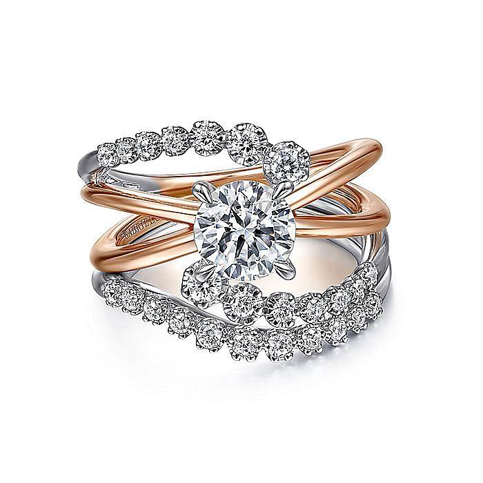 14K White-Rose Gold Bypass Round Diamond Engagement Ring