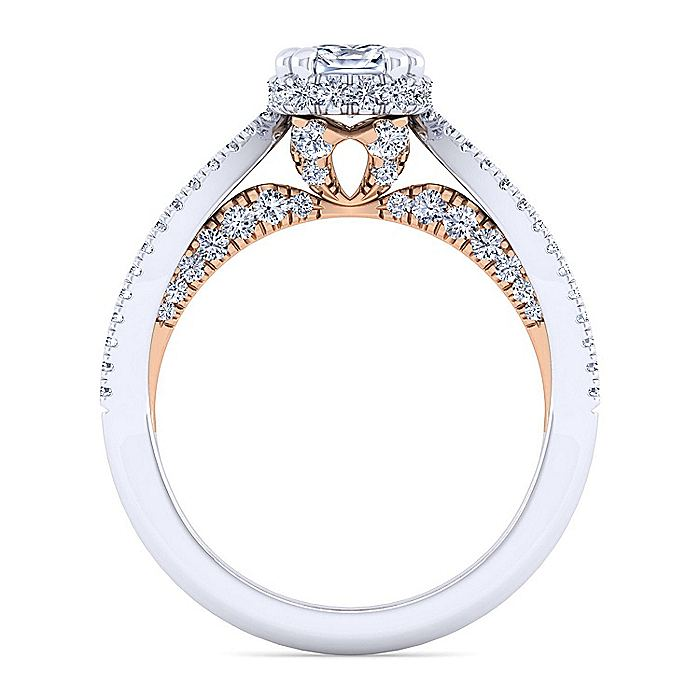 14K White-Rose Gold Cushion Cut Diamond Engagement Ring