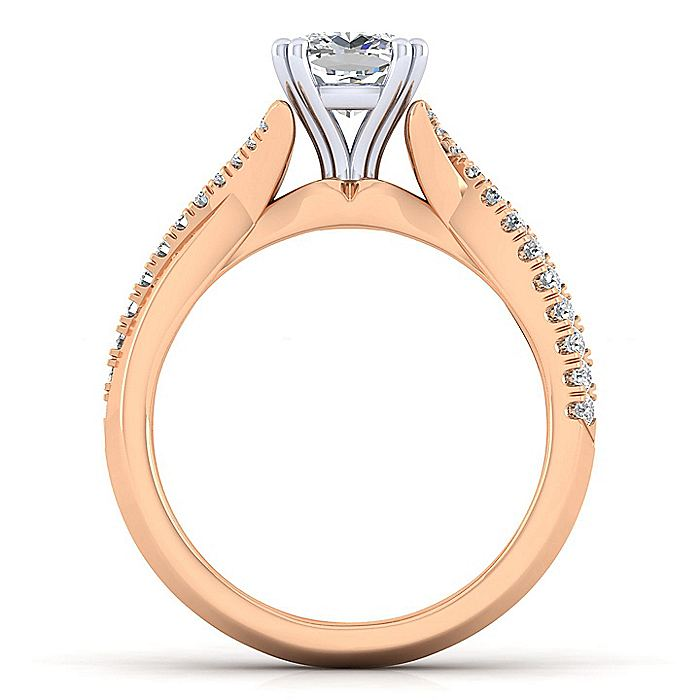 14K White-Rose Gold Cushion Cut Twisted Diamond Engagement Ring