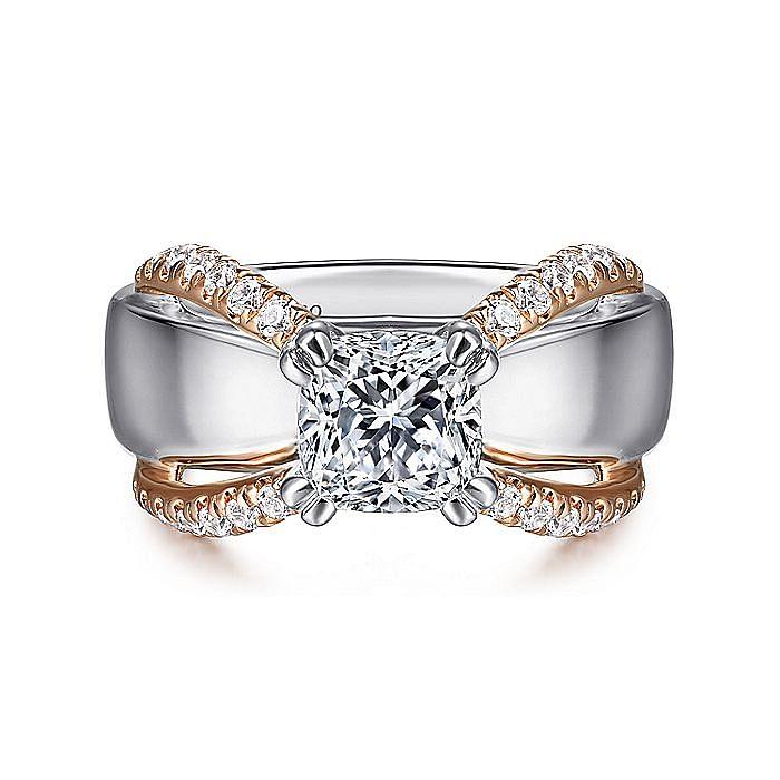 14K White-Rose Gold Cushion Cut Wide Band Diamond Engagement Ring