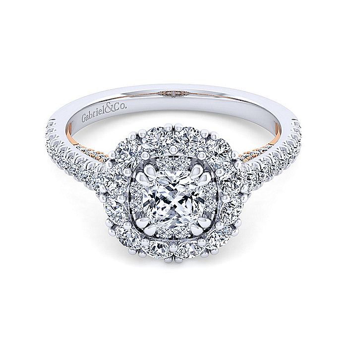 14K White-Rose Gold Cushion Double Halo Diamond Engagement Ring