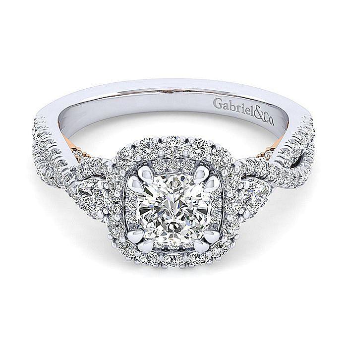 14K White-Rose Gold Cushion Double Halo Diamond Engagement Ring