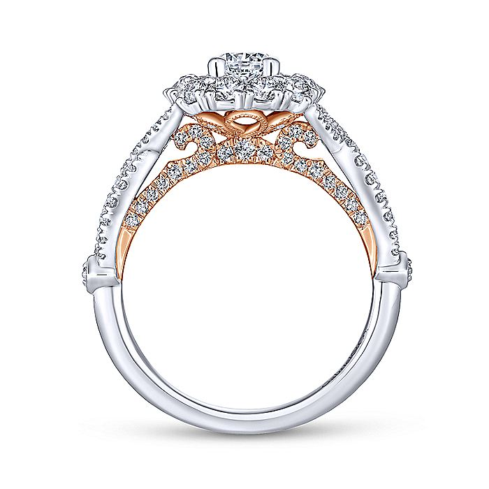 14K White-Rose Gold Cushion Double Halo Round Diamond Complete Engagement Ring