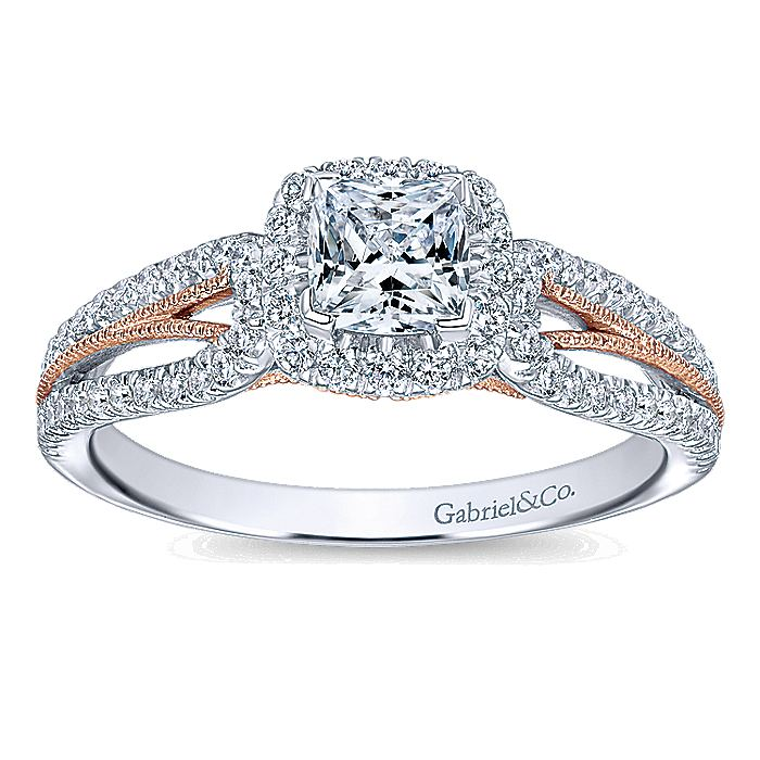 14K White-Rose Gold Cushion Halo Complete Diamond Engagement Ring