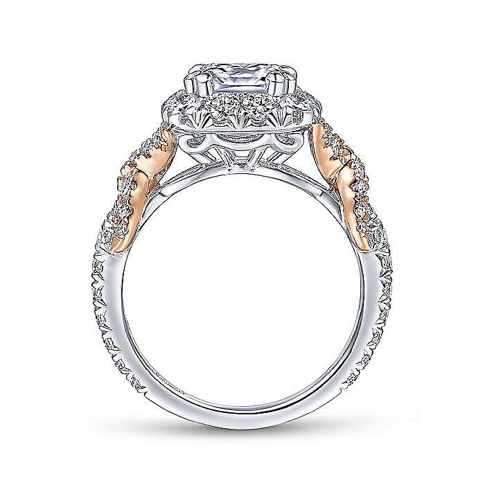 14K White-Rose Gold Cushion Halo Diamond Engagement Ring