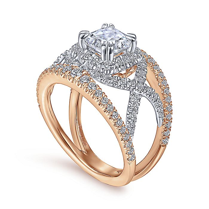 14K White-Rose Gold Cushion Halo Diamond Engagement Ring