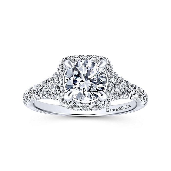 14K White-Rose Gold Cushion Halo Round Diamond Engagement Ring