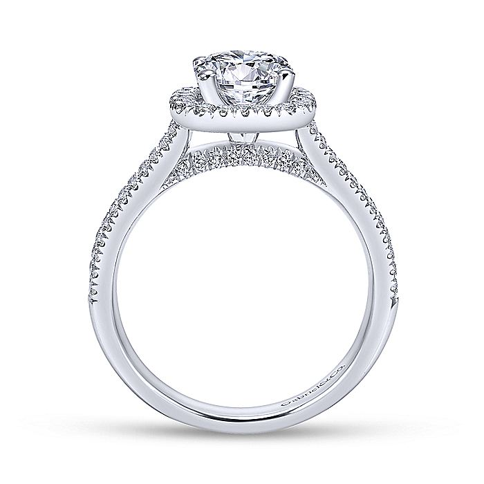 14K White-Rose Gold Cushion Halo Round Diamond Engagement Ring