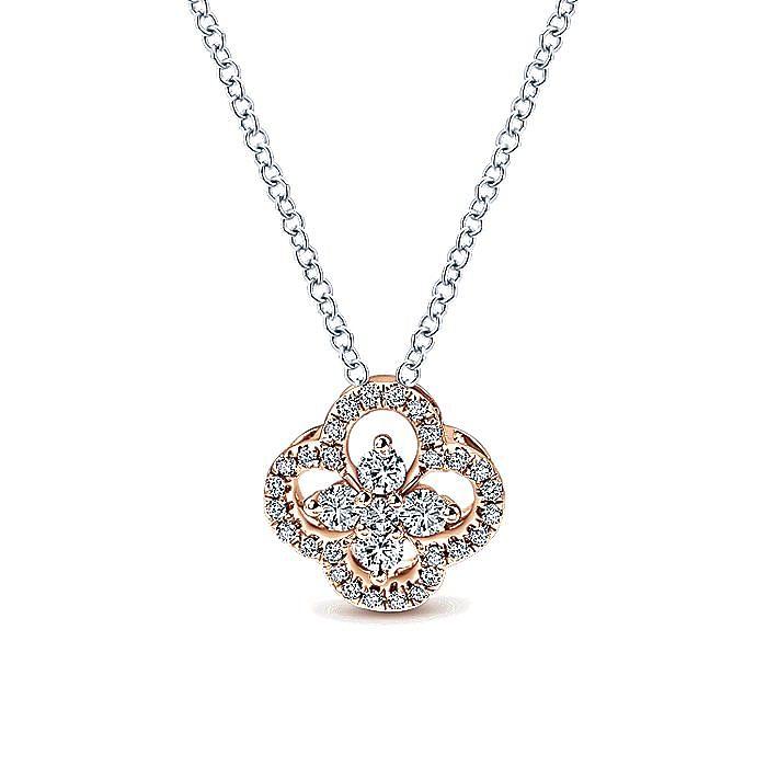 14K White-Rose Gold Diamond Clover Pendant Necklace